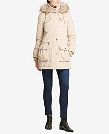 DKNY Faux-Fur-Trim Fleece-Lined Anorak Coat