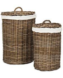 Millen Rattan Round Laundry Baskets (Set of 2)