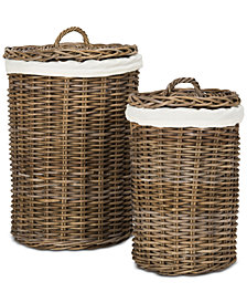Millen Rattan Round Laundry Baskets (Set of 2), Quick Ship