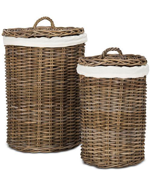 Safavieh Millen Rattan Round Laundry Baskets (Set of 2)