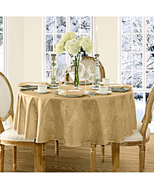 "Elrene Barcelona Damask Gold 60"" x 84"" Oval Tablecloth"