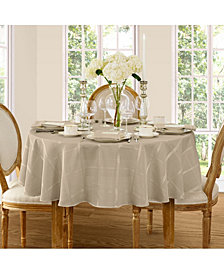 "Elrene Elegance Plaid Beige 90"" Round  Tablecloth"