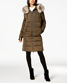 BCBGeneration Faux-Fur-Trim Hooded Puffer Coat