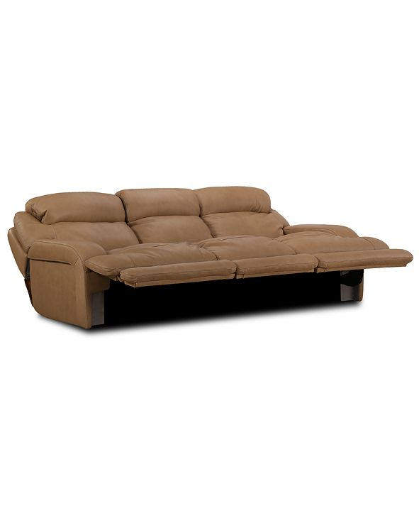 """Furniture Daventry 116"""" 3-Pc. Leather Sectional Sofa With 3 Power Recliners, Power Headrests And USB Power Outlet"""