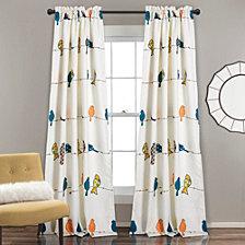 "Rowley Birds Room Darkening 52"" x 84"" Window Curtain Set"