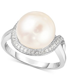Cultured Freshwater Pearl (11mm) & Diamond (1/6 ct. t.w.) Ring in Sterling Silver