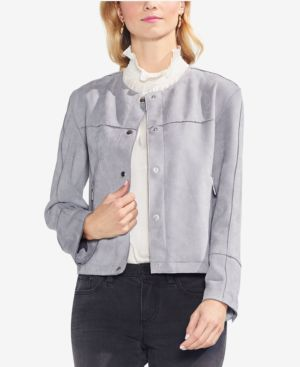 Faux Suede Snap Front Jacket, Luxe Grey
