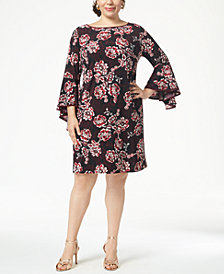MSK Plus Size Printed Bell-Sleeve Sheath Dress