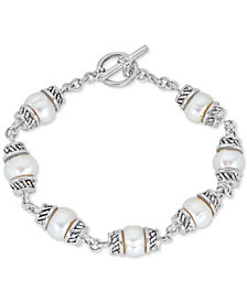 Cultured Freshwater Pearl (8mm) Link Bracelet in Sterling Silver