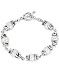 Cultured Freshwater Pearl (8mm) Link Bracelet in Sterling Silver