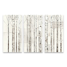 Birch Trees On White Hand Embellished Canvas, Set of 3