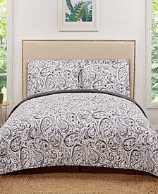 Truly Soft Watercolor Paisley Full/Queen Quilt Set