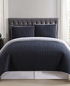 Truly Soft Everyday Black and Grey Reversible Quilt Set Collection