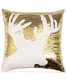 "Hallmart Collectibles Reindeer Sequin 18"" Square Decorative Pillow"