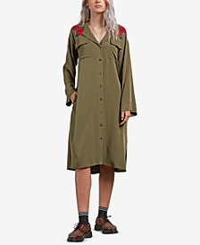 Volcom Juniors' Dream it Up Rose-Embroidered Shirtdress