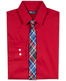 Tommy Hilfiger Big Boys Stretch Solid Shirt with Tie
