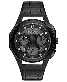Men's Chronograph Curv Progressive Sport Diamond (1/10 ct. t.w.) Black Alligator Leather Strap Watch 44mm