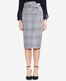 Vince Camuto Plaid Tie-Waist Pencil Skirt