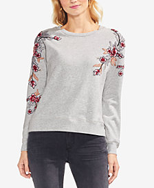 Vince Camuto Cotton Floral-Embroidered Sweatshirt