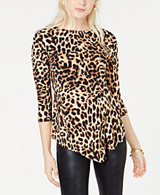 Vince Camuto Asymmetrical Animal-Print Top