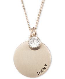 "DKNY Gold-Tone Disc & Crystal Pendant Necklace, 16"" + 3"", Created for Macy's"