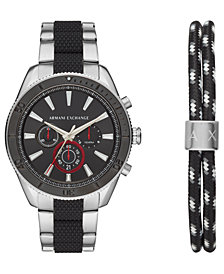 A|X Armani Exchange Men's Chronograph Enzo Two-Tone Stainless Steel Bracelet Watch 44mm Gift Set