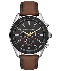 Men's Chronograph Enzo Brown Leather Strap Watch 46mm