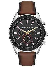 A|X Armani Exchange Men's Chronograph Enzo Brown Leather Strap Watch 46mm