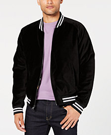 Tallia Men's Slim-Fit Stretch Black Velvet Embroidered Bomber Jacket
