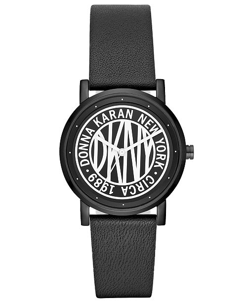 DKNY Women's SoHo Black Leather Strap Watch 34mm, Created for Macy's