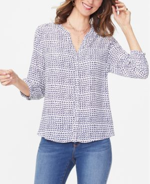 NYDJ Printed Pintuck-Back Blouse in Lines Atwist Ash