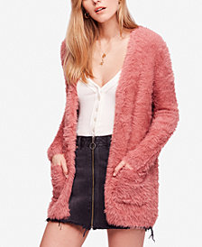 Free People Faux-Fur Open-Front Cardigan