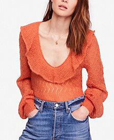 Free People Macaroon Ruffled-Neck Sweater