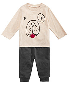 First Impressions Baby Boys Dog-Print T-Shirts & Paw-Patch Jogger Pants, Created for Macy's