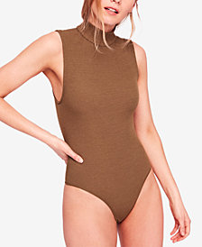Free People Save Tonight Mock-Neck Thong Bodysuit