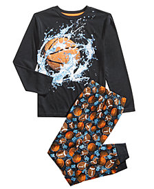 Max & Olivia Little & Big Boys 2-Pc. Basketball Jogger Pajama Set