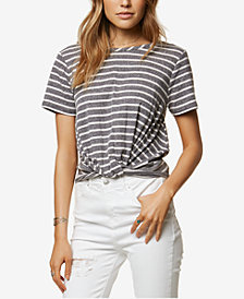 O'Neill Juniors' Prudence Striped Twist-Hem Top
