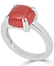 Red Agate Curved Claw Ring in Sterling Silver