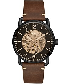 Men's Automatic Commuter Brown Leather Strap Watch 42mm