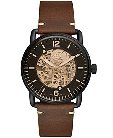 Fossil Men's Automatic Commuter Brown Leather Strap Watch 42mm