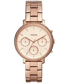 Fossil Women's Sylvia Rose Gold-Tone Stainless Steel Bracelet Watch 38mm