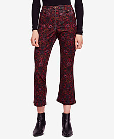 Free People Printed Cropped Flared Jeans