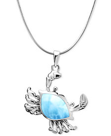 "Marahlago Larimar Crab 21"" Pendant Necklace in Sterling Silver"