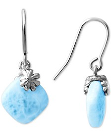 Larimar Floral Drop Earrings in Sterling Silver