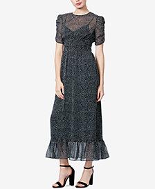 Betsey Johnson Printed Ruffle-Hem Maxi Dress