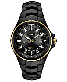 Seiko Men's Coutura Diamond-Accent Black Stainless Steel Bracelet Watch 42.5mm