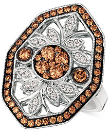 Le Vian Chocolatier® Chocolate Deco™ Diamond Statement Ring (1-1/8 ct. t.w.) in 14k White Gold