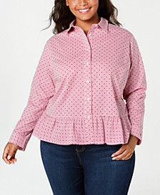 Plus Size Cotton Printed Peplum Shirt, Created for Macy's