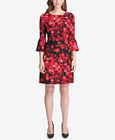 Tommy Hilfiger Floral Printed Bell-Sleeve Dress