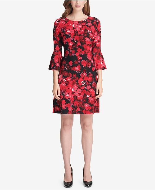 afff97b4ff5a2 Tommy Hilfiger Printed Bell-Sleeve Dress   Reviews - Dresses ...